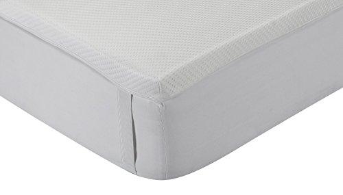 Classic Blanc - Topper / sobrecolchón viscoelástico confort plus Aloe Vera, firmeza media, 100 x 200 cm, altura 5 cm, cama 100