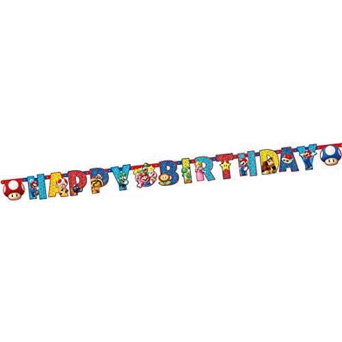 Amakando Mario und Luigi Happy-Birthday-Girlande / 190 x 15 cm / Hängegirlande Spruchbanner / Perfekt geeignet zu Mottoparty & Kinder-Feiern