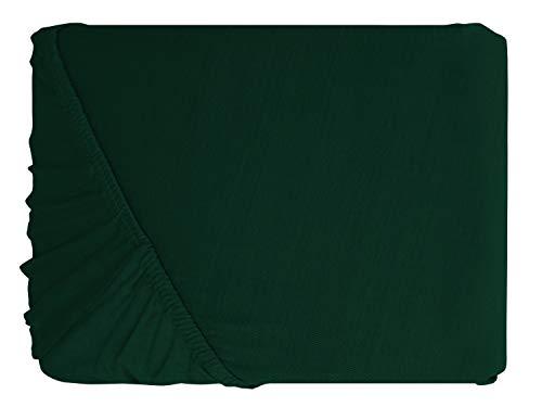 npluseins klassisches Jersey Spannbetttuch - erhältlich in 34 modernen Farben und 6 verschiedenen Größen - 100% Baumwolle, 90-100 x 200 cm, moos