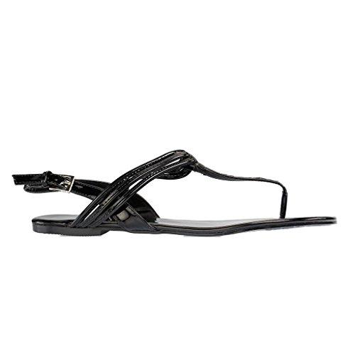 ANDRES MACHADO - Damen Sandalen - Schwarz Schuhe in Übergrößen Schwarz