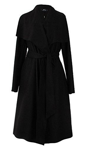 Brinny Damen Herbst Trenchcoat Mantel Langärmlig Revers Jacke Outwear, Schwarz (Großen T-shirt Sherpa-fleece)