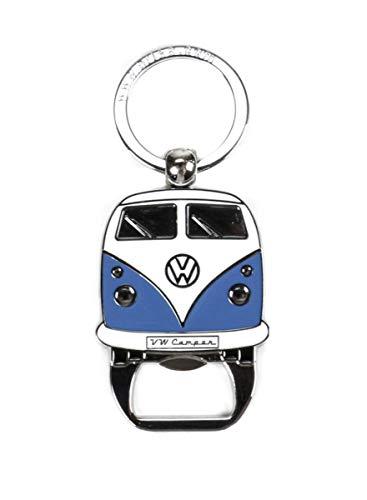 VW T1 Bus Schlüsselanhänger mit Flaschenöffner, Front-Design, Sammlerstück aus VW-Kollektion, Zink-Aluminium vernickelt, emailliert, 2 Versionen (Blau) -