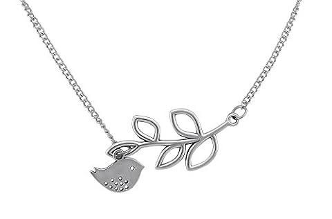 Veuer Schmuck für Damen Edle Hals-Kette Blatt Fisch Silber Geschenk für die Frau / Freundin / Frauen verstellbar Sie