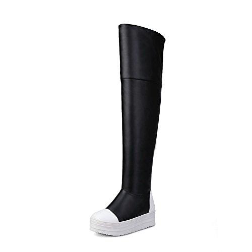 AllhqFashion Damen Mittler Absatz Überknie Hohe Stiefel Gemischte Farbe Ziehen Auf Stiefel Schwarz