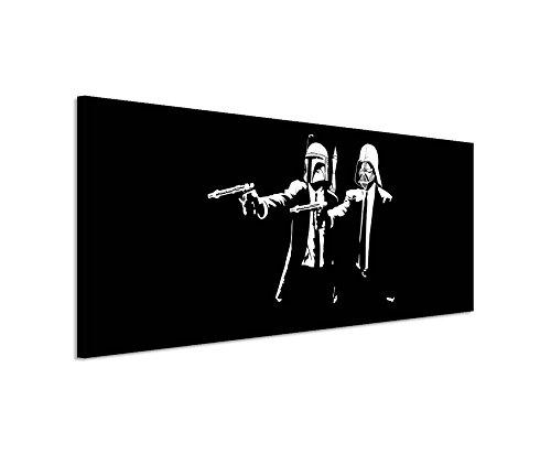 Kunstdruck Star_Wars_Pulp_Fiction_150x50cm Panoramabild _Ausführung qualitativ hochwertiges Keilrahmenbild auf echter Leinwand als Wandbild auf Keilrahmen