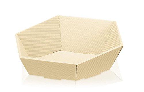 10 Stück Präsentkorb Swing creme, Geschenkkorb, Wellpappkorb 6-eckig – Größe: groß