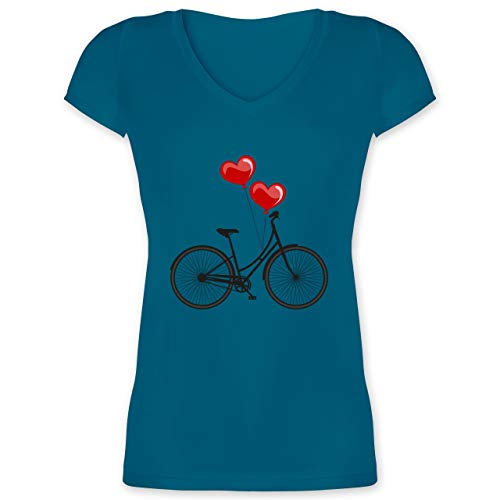 Statement Shirts - Fahrrad Herz Luftballons - 3XL - Türkis - XO1525 - Damen T-Shirt mit V-Ausschnitt