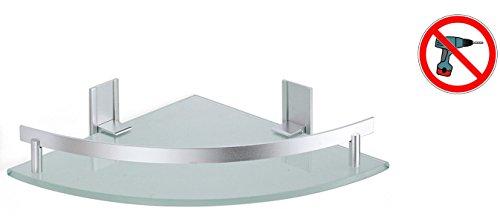 """MSV 141433 Bad Regal \""""Tabarca\"""" Eckregal Duschregal aus Aluminium und Glas - kleben und bohren"""