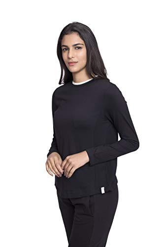 Satva Damen Organic Cotton Round Neck Long Sleeve Top T-Shirt Loungewear Yoga-Dana, schwarz, Medium -