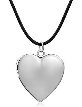 Adisaer Medaillon Amulett Foto Bilder Kette Silber/Gold Choker Herz Anhänger Fotomedaillon Halskette Mädchen mit...