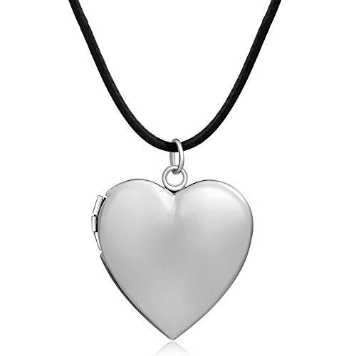 m Öffnen mit Kette Damen Silber Choker Herz Anhänger Fotomedaillon Halskette Mädchen mit Kostenlos Gravur Valentinstag Geschenk (Gold Medaillon Halskette)
