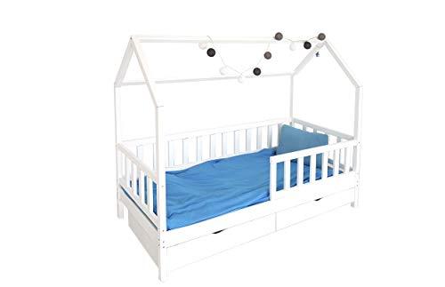 Children's Beds Home Lit Simple - Cabane pour Enfants Enfants Enfant Junior avec Matelas en Mousse de 10 cm et tiroirs Inclus (140x70, Blanc)