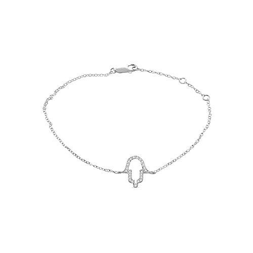 Or Blanc 9 ct Bracelet Diamant en forme de feuille, 0.2 Ct Diamant, GH-SI, 1.43 grammes.