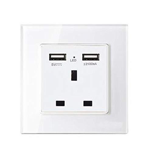 Dadahuam Switch-Buchse, USB-Switch mit Zwei Anschlüssen Laden Sie die Steckdose nach britischem Standard auf iPad, iPhone, Tablets, Handys, Kameras und mehr