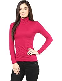 Hypernation Red Color High Neck T-Shirts for Women