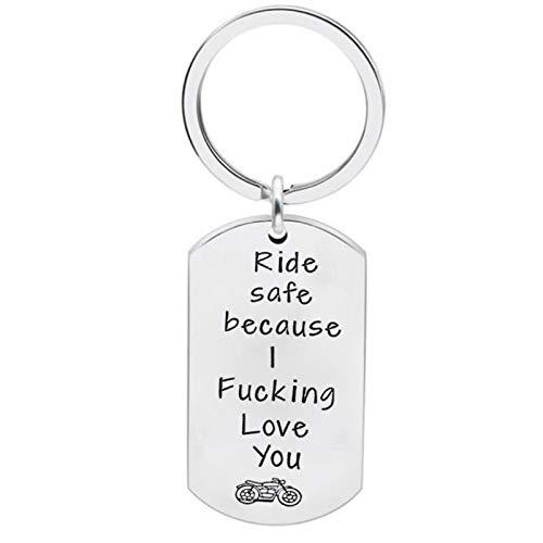 Quiksilver-karte (KnSam Schlüsselring Aus Edelstahl Schlüsselhalter Ride Safe, Weil Ich Dich Verdammt Liebe Dog Tag Style A Schlüsselanhänger mit Kostenlos Gravur)