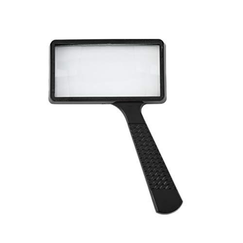 Rechteckige Hand Lupe Vergrößerungsglas, schwarz leichte exquisite Verarbeitung und ausgezeichnete Arbeit 4 X rechteckige Handheld große Lesung Lupe Lupe