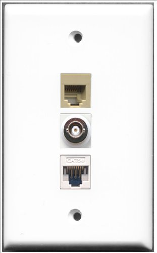 Decorator 1 Jack Single Gang (RiteAV - 1 Port Telefon RJ11, RJ12, Farbe Beige, 1 Port, BNC- und Cat-5e Ethernet 1 Port Wall Plate)