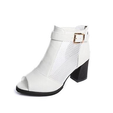 Zormey Frauen Heels Feder Komfort Pu Casual Beige Schwarz Weiß US4-4.5 / EU34 / UK2-2.5 / CN33