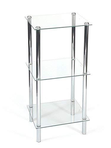 Aquashine® Luxus Design Badezimmer-Regale   verchromter Stahl & Glas   Modernes Design   3 & 4 Etagen   Freistehende & Eckregale (Freistehend Klein) -