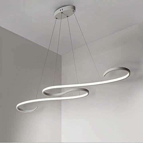 GBLY LED Pendelleuchte Esstisch 36W Dimmbar Hängeleuchte weiß Pendellampe modern Hängelampe Höhenverstellbar Leuchte für Büro Esszimmer Kurve Design mit Fernbedienung