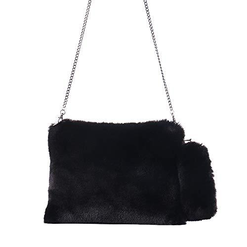 Yunyoud borsa a tracolla a mano invernale - morbida pelliccia artificiale borsa piccola pelliccia di pelo caldo borsa della peluche squat + misterioso silenzioso, rinfrescante (free, nero)