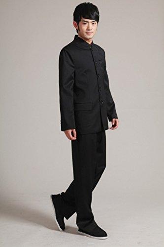 Bigood Combinaison Homme Kung-fu Uniforme Manteau Pantalon Soirée Mariage Noir