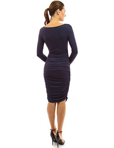 PattyBoutik Mama robe de maternité stretch froncé avec cou boule bleu marin