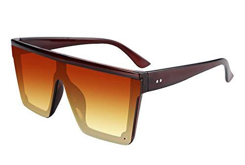 TEN-G Fashion Oversize Siamese Lens Sunglasses Women Men Succinct Style UV400 B2470 (Red)