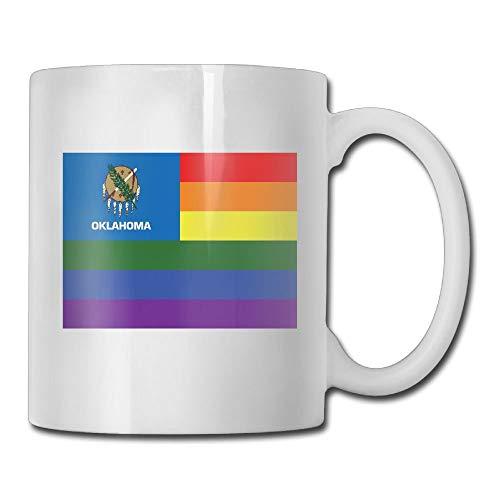 Daawqee Becher Coffee Mug Rainbow Flag of Oklahoma Mugs Cool Ceramic Coffee Tea Cups Double-Side Printing 11oz