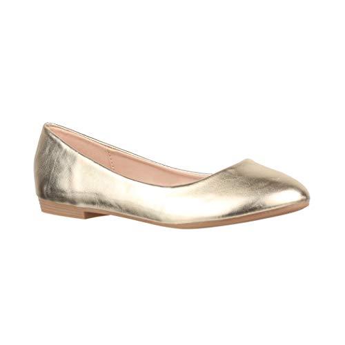 Elara Damen Ballerina Bequeme Slip-Ons Flach chunkyrayan B3039H-BL Gold-39