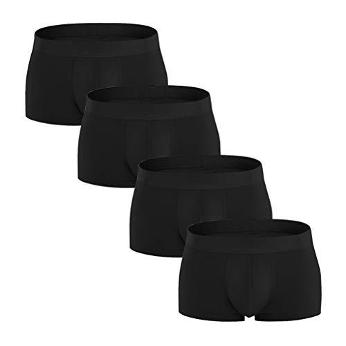 QHJ Boxershorts Men Herren Unterwäsche Unterhosen Männer Herren Hot Fashion 4er Pack Bunte Bequeme 95% Baumwolle Unterwäsche Plus Größe (Schwarz,S)