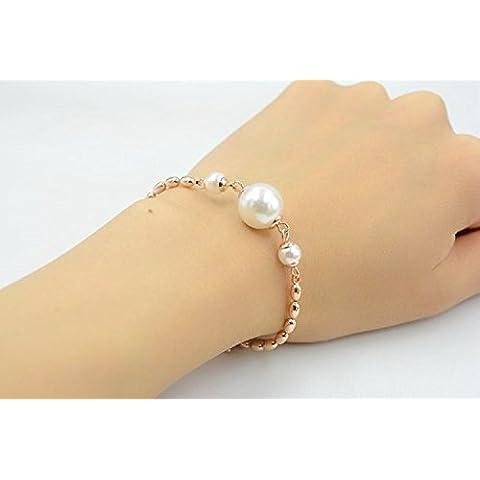 XJoel doppio braccialetto di perle in oro o argento placcato braccialetto asimmetrica