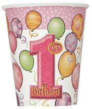 Rosa Baby Dusche ersten Geburtstag Mädchen Tassen–8Stück