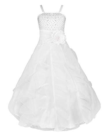 TiaoBug Girls Party Dresses Princess Organza Flower Tutu Wedding Pageant Gown Dress White 4 Years