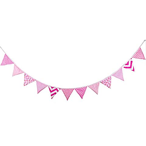 12 Flags Pink Pattern Cotton Fabric Bunting Pennant Flags Banner Garland Wedding / Birthday / Baby Shower Party Decoration