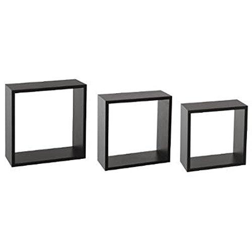 Paris Prix - Lot De 3 étagères Murales Cube 30cm Noir