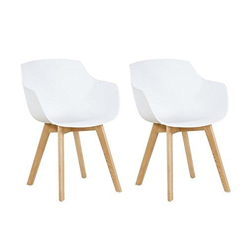 H.J WeDoo 2er-Set Wohnzimmerstuhl Esszimmerstuhl mit Armlehne und Buchenholz Retro Design Stuhl für Büro Lounge Küche Wohnzimmer (Weiß) -