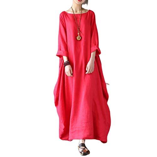 Wide.ling Leinenkleid Damen Sommer Lang Tunika Kleid Vintage Baggy Party Kleider Maxikleid Strandkleid Große Größe rot XXXXL