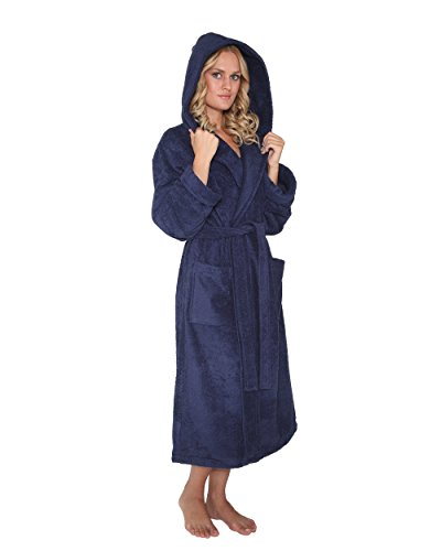 Bademantel mit Kapuze Robe'n Hood für Damen und Herren, 100% Baumwolle, mittellang, Marine