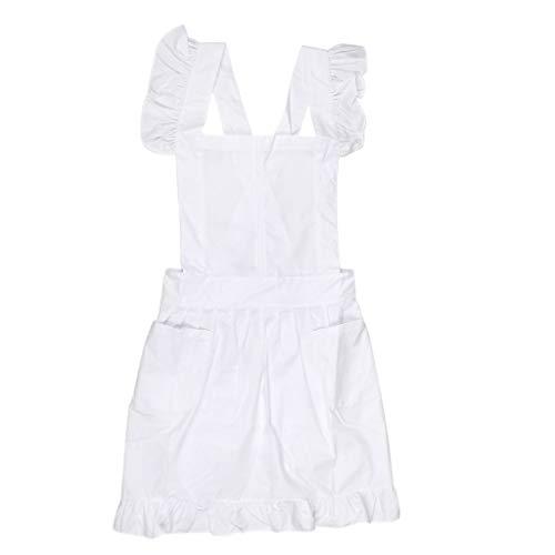 Baumwoll-friseur-jacke (Backbayia Arbeitskleidung Latzschürze Kochschürze für Salon, Friseur, Küche, Außenbereich oder Malerei (Weiß))