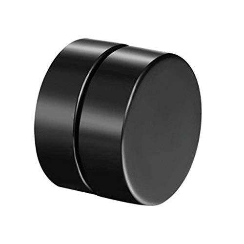 Careflection Classic Black Plain Thin Magnetic Non Piercing Unisex Fashion Stylish Earing Ear Stud Round Black For Men Women (1 Pair)