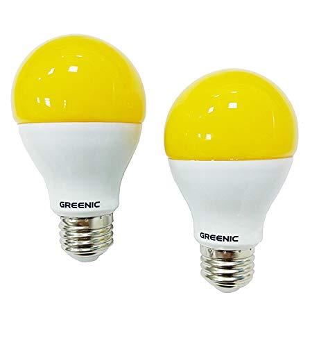greenic gelb LED Bug Leuchtmittel 9W (60W Ersatz), Mückenschutz Licht für Indoor Outdoor Garten Garage Farm, 800lm, 2er Pack -