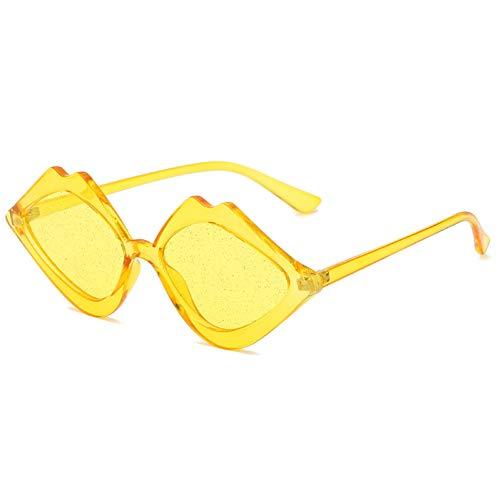 Taiyangcheng Gafas de sol en Forma de labios especiales para Mujeres Punk Punk Gafas de ojo de gato pequeño Lente de Color degradado,Amarillo Amarillo