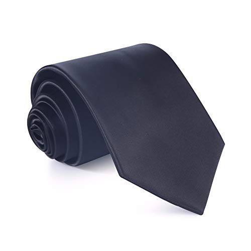 WUNDEPYTIE Bright Face Wide Tie 8.5Cm Business Dress Wedding Solid Color Tie Gift Box, Black Solid Black Bow Tie
