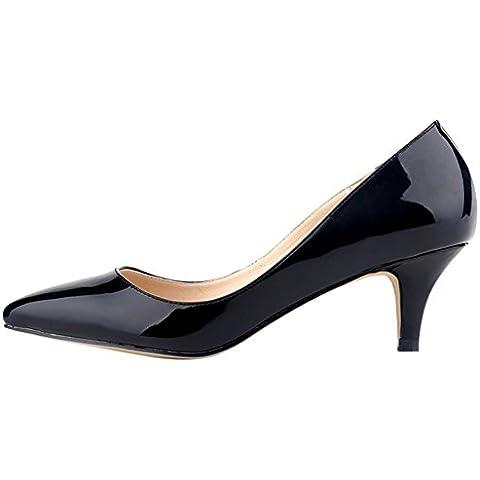 OCHENTA Mujer de color del caramelo punta estrecha mediana de tacon zapatos de la bomba de la PU