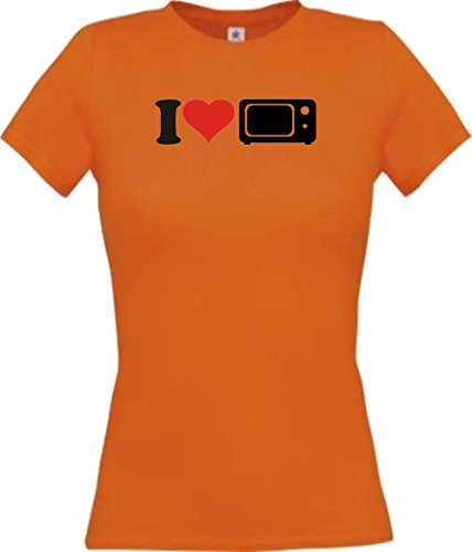 ShirtInStyle Lady-Shirt I Love Mikrowellen Essen Kochen Backen, Farbe orange, Größe - Mikrowelle Orange