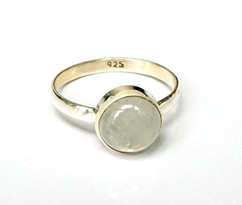 Shanya-Anello etnico in argento Sterling Pietra Di Luna Arcobaleno, Argento massiccio, Vera Pietra di luna, ogni anello è a mano. La pietra è 5x 5mm. Design rbcrm. Taglia., Argento, 52 (16.6), colore: bianco, cod.