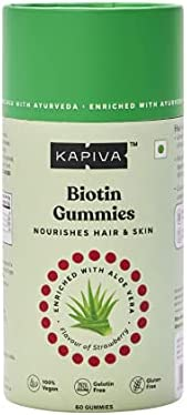Kapiva Biotin Gummies (Pack of 60) - Supplement with Aloe Vera for Hair Growth and Healthy Skin   Rich in Vita