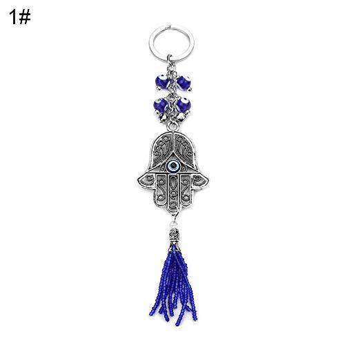 Verlike Fashion Schlüsselanhänger mit Elefanten-Anhänger Evil Eye Hamsa Hand, Metall, 1# -